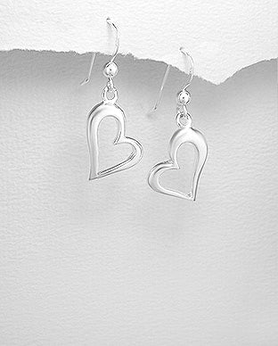 925 Sterling Silver Plain Heart Drop Earrings - The Silver Vault UK