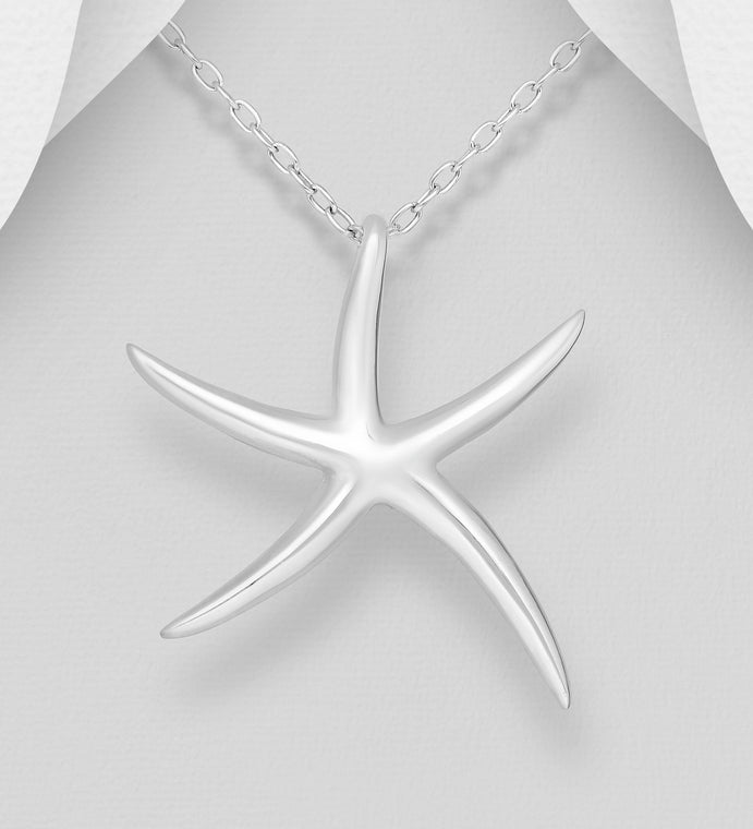 925 Sterling Silver Starfish Pendant and Chain - The Silver Vault UK
