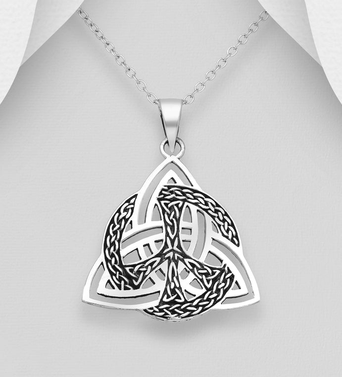 925 Sterling Silver Oxidized Celtic Trinity Pendant & Chain - The Silver Vault UK
