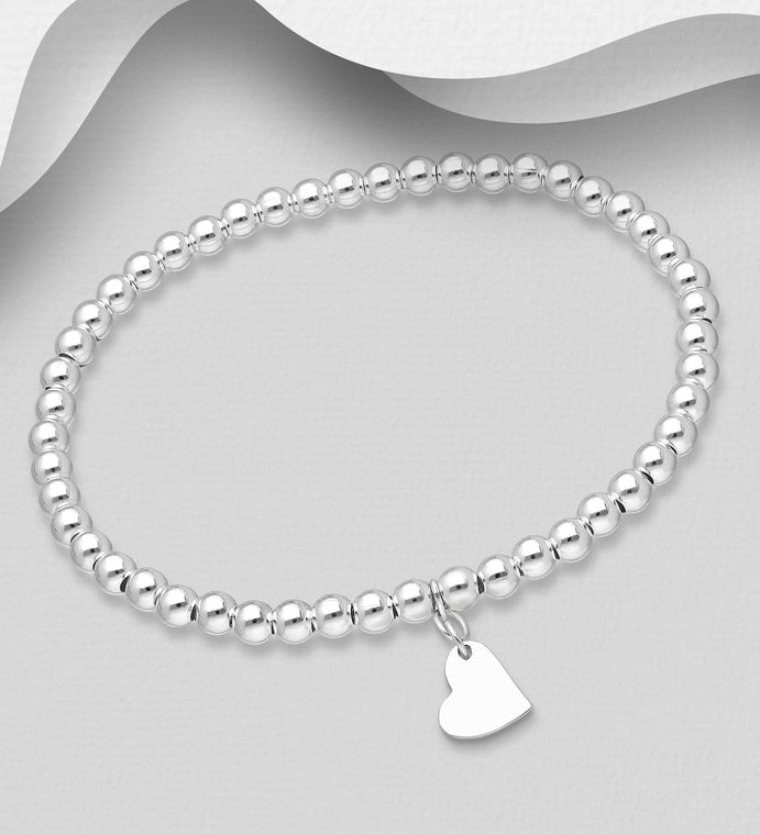 "925 Sterling Silver Ball & Heart Stretch ""Peace"" Bracelet - Valentines Gift Idea - The Silver Vault UK"