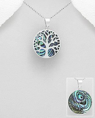 925 Sterling Silver Tree of Life Pendant & Chain Decorated With Abalone Stone Shell - The Silver Vault UK