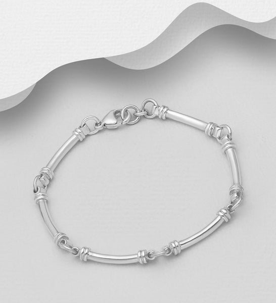 925 Sterling Silver Hand Crafted Solid Bracelet - The Silver Vault UK