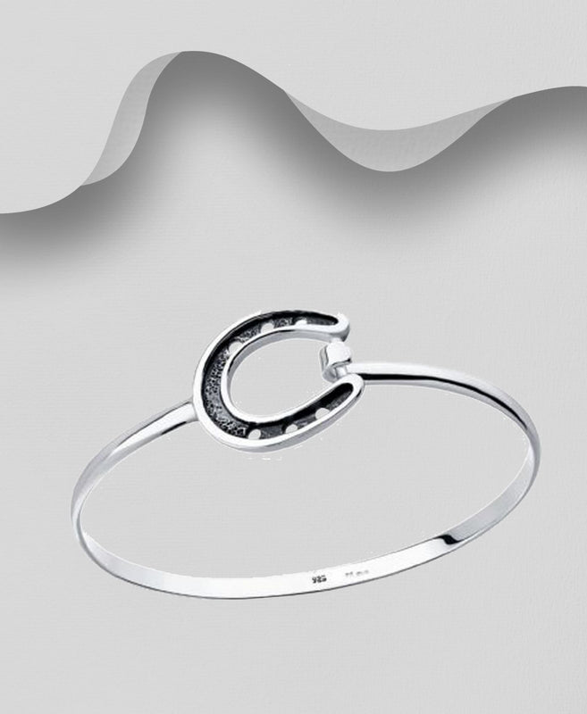 925 Sterling Silver Solid Horse Shoe Bangle That Opens - The Silver Vault UK