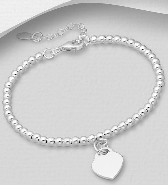 925 Sterling Silver Bracelet with Heart Charm - Valentines Gift Idea - The Silver Vault UK