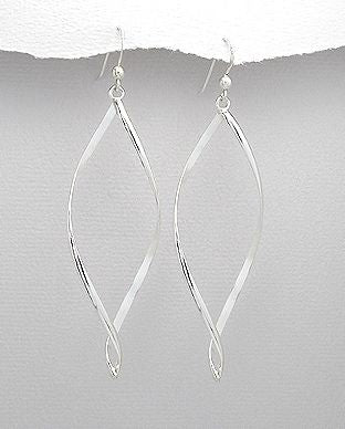 925 Sterling Hand Crafted long Twist Drop Earrings - The Silver Vault UK