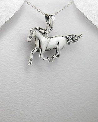 925 Sterling Hand Crafted Silver Horse Pendant - The Silver Vault UK