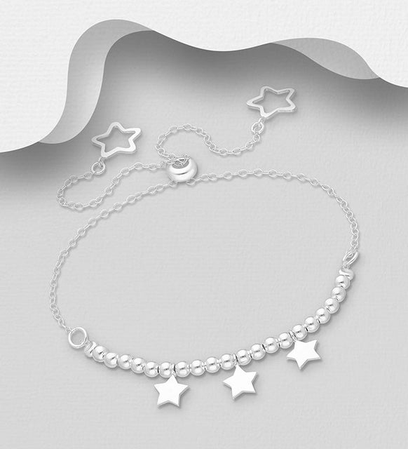 925 Sterling Silver Adjustable Star Bracelet - The Silver Vault UK