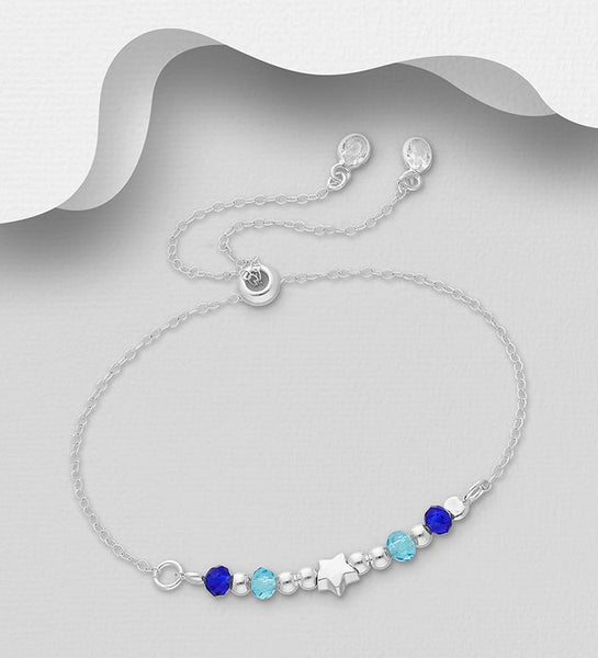 925 Sterling Silver Adjustable Stone Set Bracelet - The Silver Vault UK