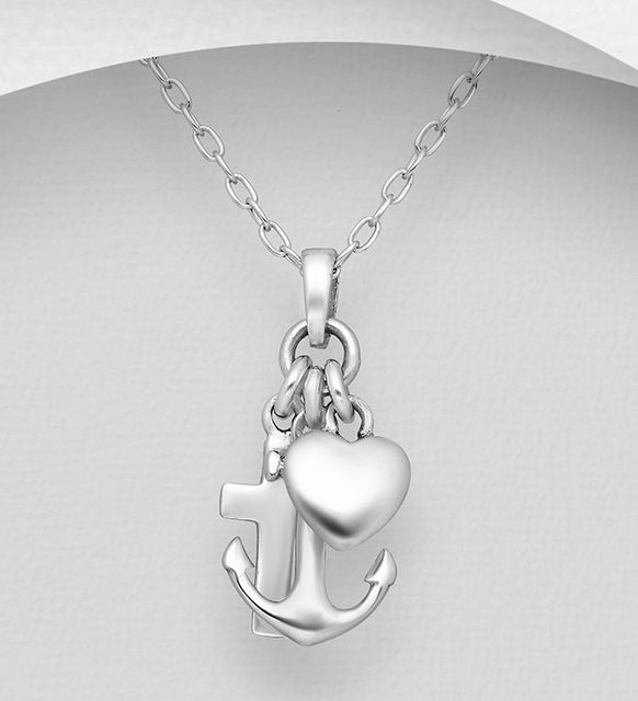 925 Sterling Silver Anchor and Cross and Heart Pendant & Chain - The Silver Vault UK