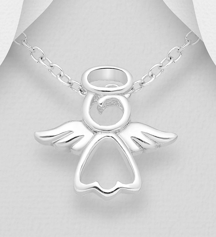 925 Sterling Silver Angel Pendant & Chain - The Silver Vault UK