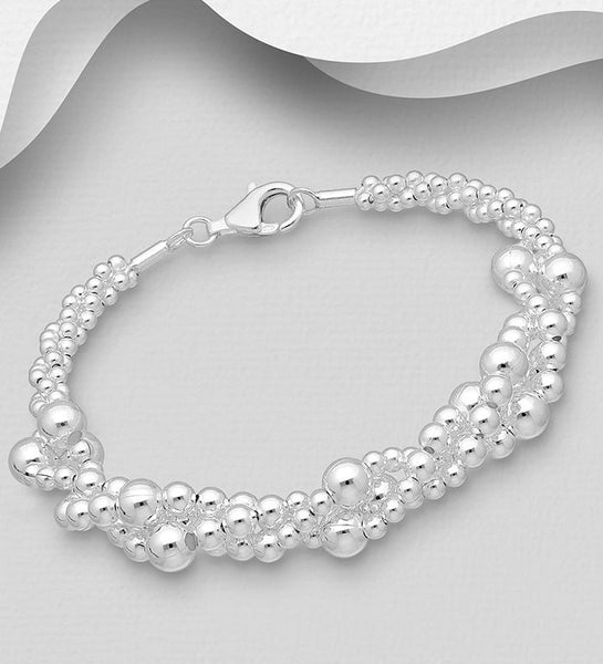925 Sterling Silver Ball Bead Bracelet - The Silver Vault UK