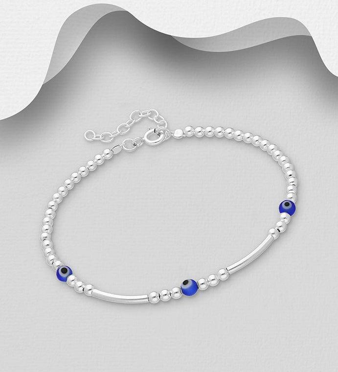 925 Sterling Silver Ball Bracelet Set With Blue Beads - The Silver Vault UK