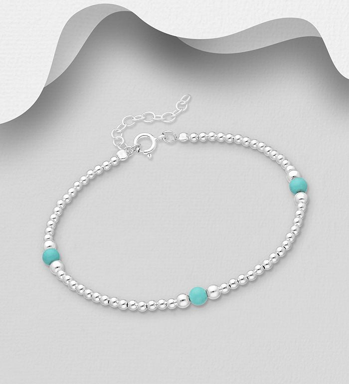 925 Sterling Silver Ball Bracelet Set With Turquoise Beads - The Silver Vault UK