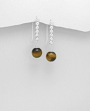 925 Sterling Silver Ball Hook Earrings, Beaded with Tigers Eye Gemstones - The Silver Vault UK