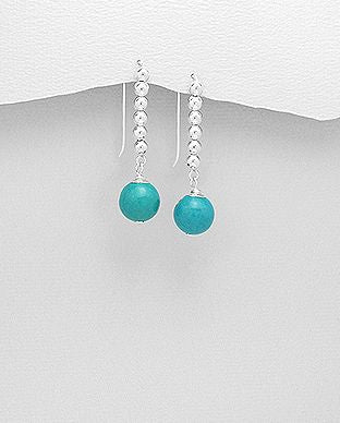 925 Sterling Silver Ball Hook Earrings, Beaded withSky Blue Turquoise Gemstones - The Silver Vault UK
