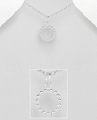925 Sterling Silver Ball Pendant & Chain - The Silver Vault UK