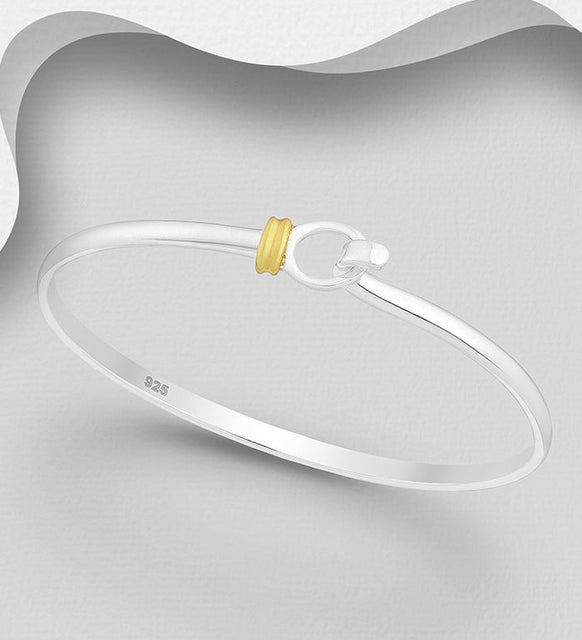 925 Sterling Silver Bangle, Plated with 1 Micron of 18K Yellow Gold - The Silver Vault UK