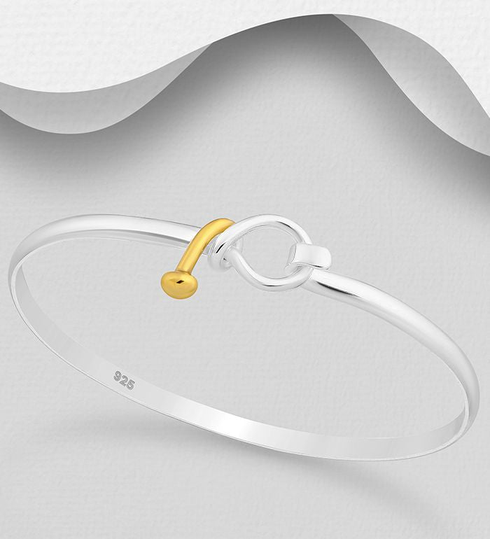 925 Sterling Silver Bangle that opens, Plated with 1 Micron of 18K Yellow Gold - The Silver Vault UK