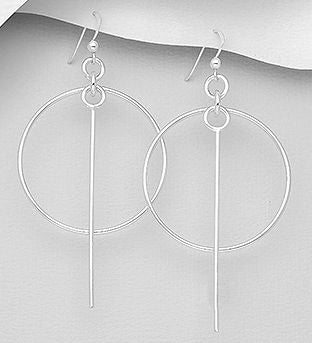925 Sterling Silver Bar And Circle Hook Earrings - The Silver Vault UK