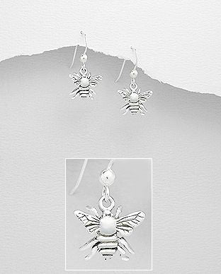 925 Sterling Silver Bee Hook Earrings - The Silver Vault UK