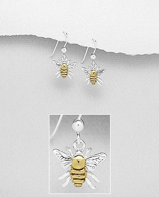 925 Sterling Silver Bee Drop Earrings, Centre Plated with 1 Micron 18K Yellow Gold - The Silver Vault UK