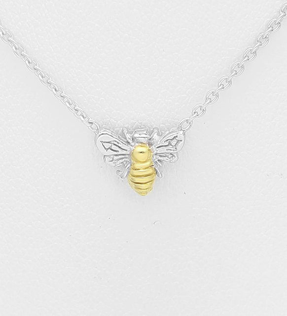 925 Sterling Silver Bee Pendant, Center Plated with 1 Micron 18K Yellow Gold - The Silver Vault UK