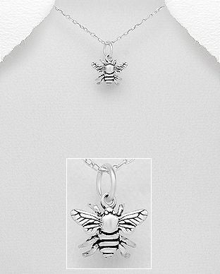 925 Sterling Silver Bee Pendant & Chain - The Silver Vault UK
