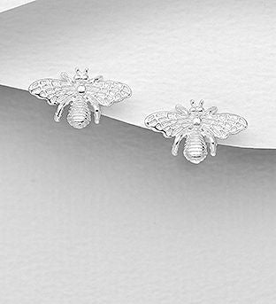 925 Sterling Silver Bee Push-Back Earrings - The Silver Vault UK