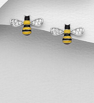 925 Sterling Silver Bee Push-Back Earrings Decorated with CZ Simulated Diamonds and Colored Enamel - The Silver Vault UK