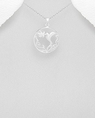 925 Sterling Silver Bird and Flower Pendant - The Silver Vault UK