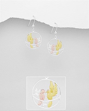 925 Sterling Silver Love Bird Drop Earrings, Birds Plated with 1 Micron 18K Yellow Gold and Pink Gold - Valentines Gift Idea - The Silver Vault UK