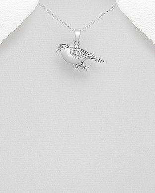 925 Sterling Silver Bird Pendant & Chain - The Silver Vault UK