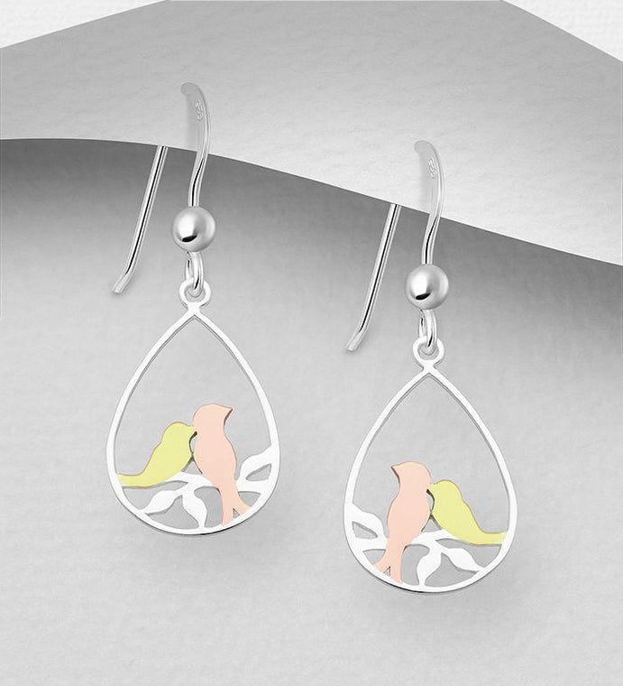 925 Sterling Silver Love Birds Drop Earrings Plated with 1 Micron of 18K Yellow Gold and Pink Gold - Valentines Gift Idea - The Silver Vault UK