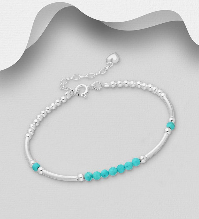 925 Sterling Silver Bracelet Set With Turquoise Beads - The Silver Vault UK