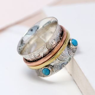 925 Sterling Silver,  Brass  & Copper Floral Spinning Ring With Turquoise - The Silver Vault UK