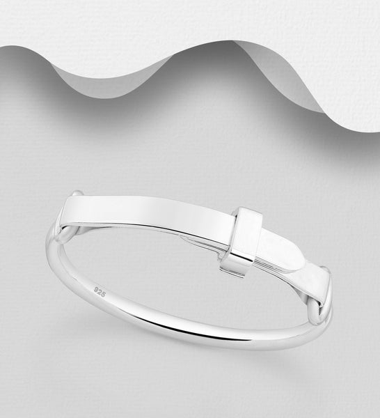 925 Sterling Silver Buckle Style Solid Bangle - The Silver Vault UK