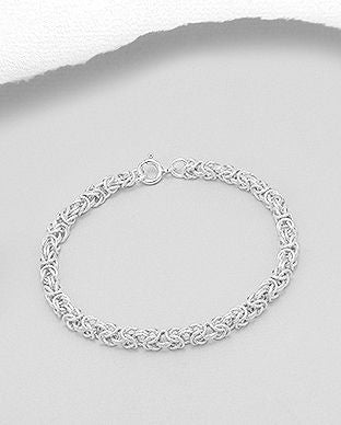 925 Sterling Silver Byzantine Bracelet - The Silver Vault UK