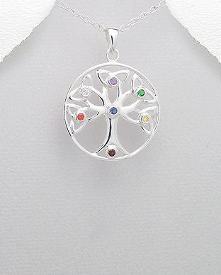 925 Sterling Silver Celtic and Chakra Tree Of Life Pendant Decorated with CZ Simulated Diamonds, Pla