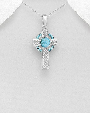 925 Sterling Silver Celtic Cross Pendant Decorated With Reconstructed Turquoise - The Silver Vault UK