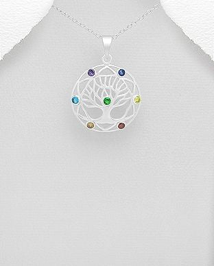 925 Sterling Silver Chakra and Tree Of Life Pendant & Chain Decorated with CZ Stones - The Silver Vault UK