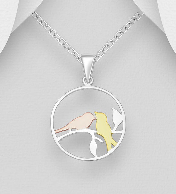 925 Sterling Silver Circle Birds Pendant, Birds Plated with 1 Micron 18K Yellow and Pink Gold - Valentines Gift Idea - The Silver Vault UK