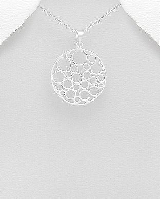 925 Sterling Silver Circles Pendant - The Silver Vault UK