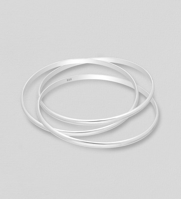 925 Sterling Silver Classic Russian Bangle - The Silver Vault UK