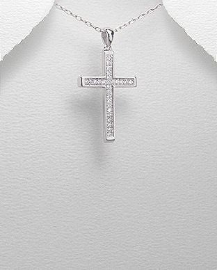 925 Sterling Silver Cross Pendant Set With CZ Stones - The Silver Vault UK