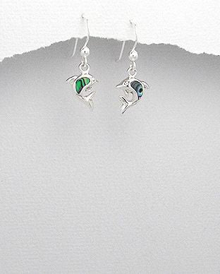 925 Sterling Silver Dolphin Hook Earrings Decorated With Aberlone Shell - The Silver Vault UK