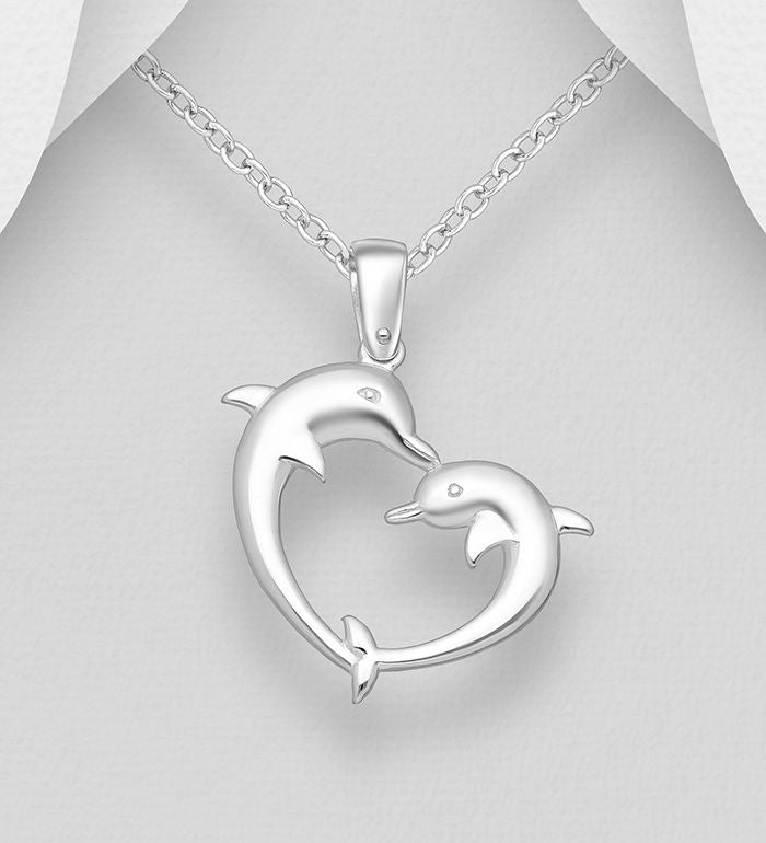 925 Sterling Silver Dolphin Pendant & Chain - The Silver Vault UK