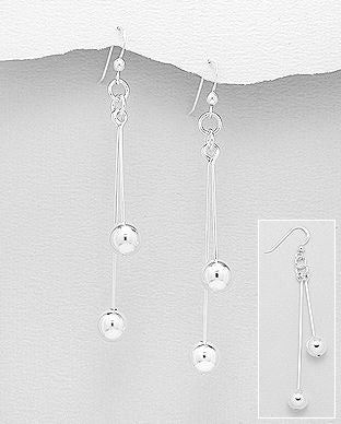 925 Sterling Silver Double Ball Hook Earrings - The Silver Vault UK