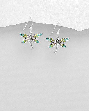 925 Sterling Silver Dragonfly Hook Earrings Decorated With Colored Enamel & Marcasite - The Silver Vault UK