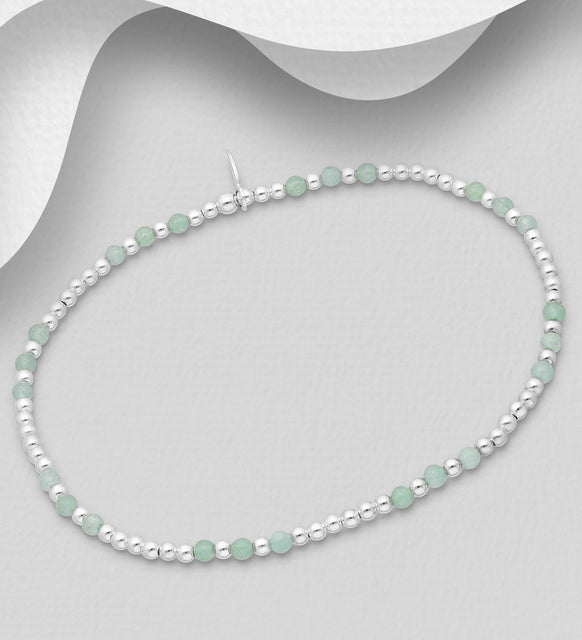 925 Sterling Silver Elastic Bracelet, Beaded with Green Jade - The Silver Vault UK