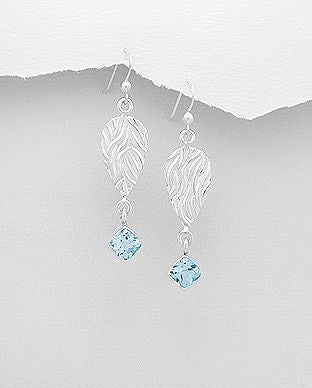 925 Sterling Silver Elegant Drop Earrings set with CZ Aquamarine Colour Stones - The Silver Vault UK